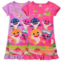 2019 Summer Girl Clothes Baby Shark Nightgown Dresses A-line Toddler Girl Dress Children Nightdress Outfits Vestido Girl Dress