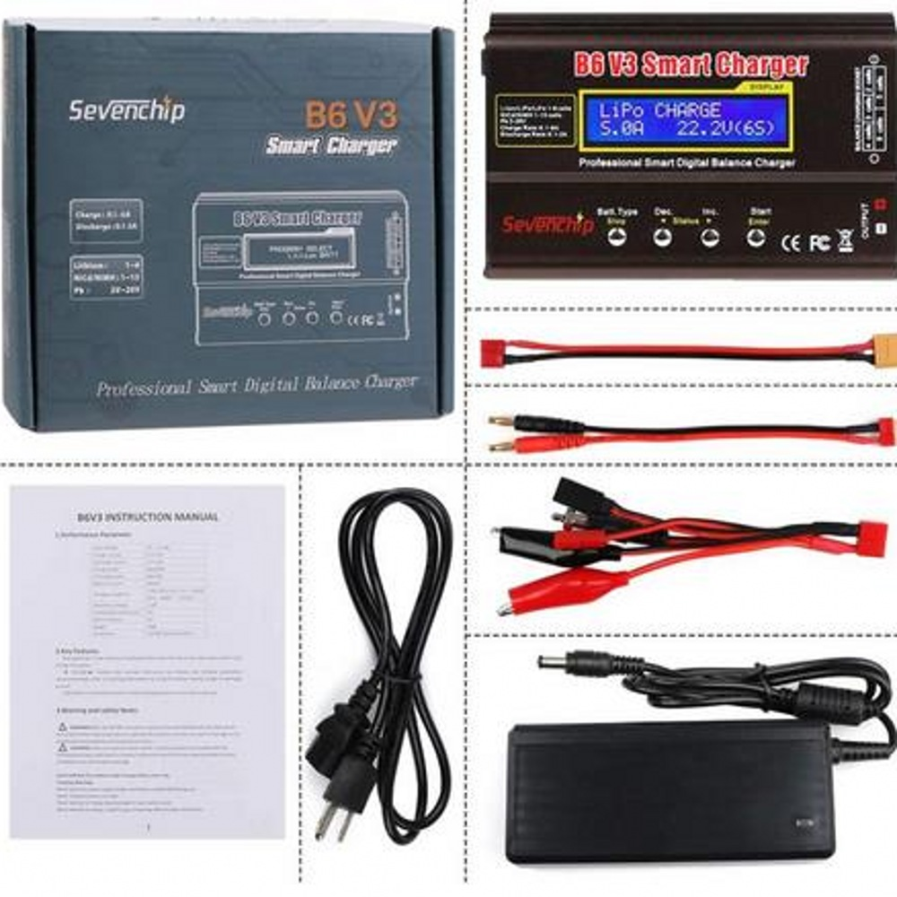 Imax B6 V3 80W 6A Batterij Lader Lipo Nimh Li-Ion Ni-Cd Digitale Rc Charger Lipro Balans Lader ontlader + 15V 6A Adapter 2