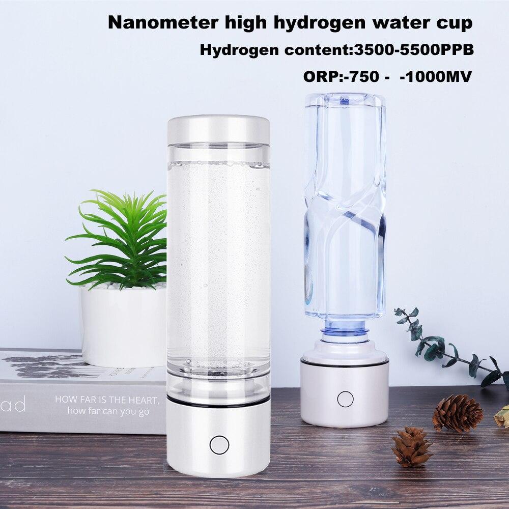SPE 높은 수소 풍부한 나노 미터 물병 ORP -800mv H2 이온화 h2 발전기 안티 에이징 워터 컵 IHOOOH