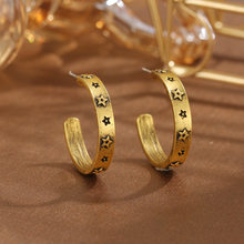 European and American retro jewelry with twisted snake pattern irregular geometric C-shaped earrings for women wholesale