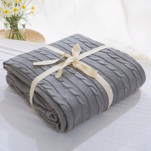 Image 2 - 販売 格子縞の毛布ベッドカバーソフトスローブランケットベッドカバー寝具ニット毛布空調快適な睡眠ベッド