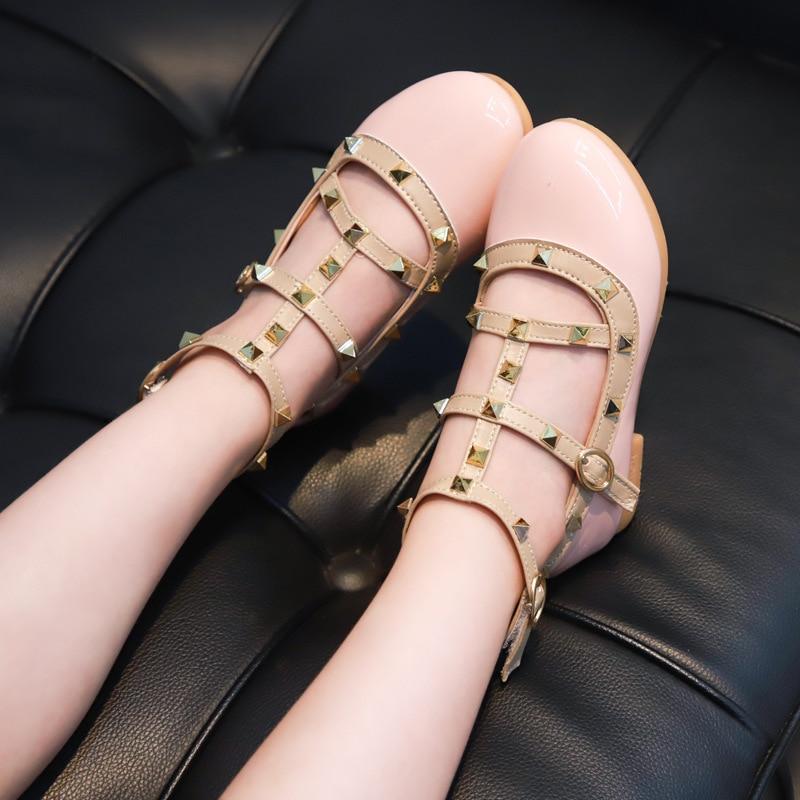 2020 New Children's Shoes Fashion Rivet Girls Single Shoes Ballet Flats  Kid Girl Shoes Eu 21-36