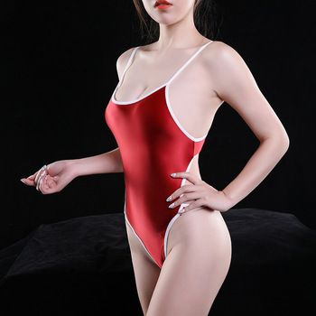 Sexy Women Spaghetti Strap High Cut Bodysuit Backless T-crotch One piece Swimsuit Elastic Skinny Shiny Leotard - sale item Jumpsuits, Rompers/Playsuits & Bodysuits