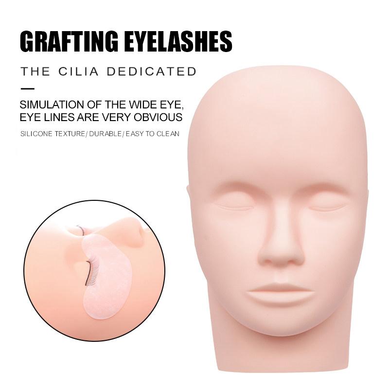 DeceMars  Fake Head Mould Mannequin Head Training Makeup Model Rubber Eye Facial Eyelash Eyelash Extension Makeup Practice Heads