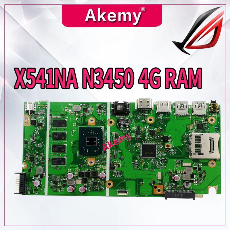 X541NA REV 2.1 Motherboard For ASUS X541NA Laptop Motherboard X541N Mainboard Test 100% OK N3450 CPU 4 Cores 4GB RAM