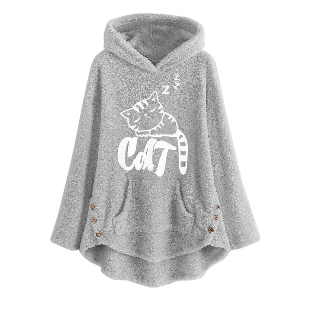 Cat Ear Plus Size Women Hooded Pullover Hoodies with Pocket Grey Sweatshirts