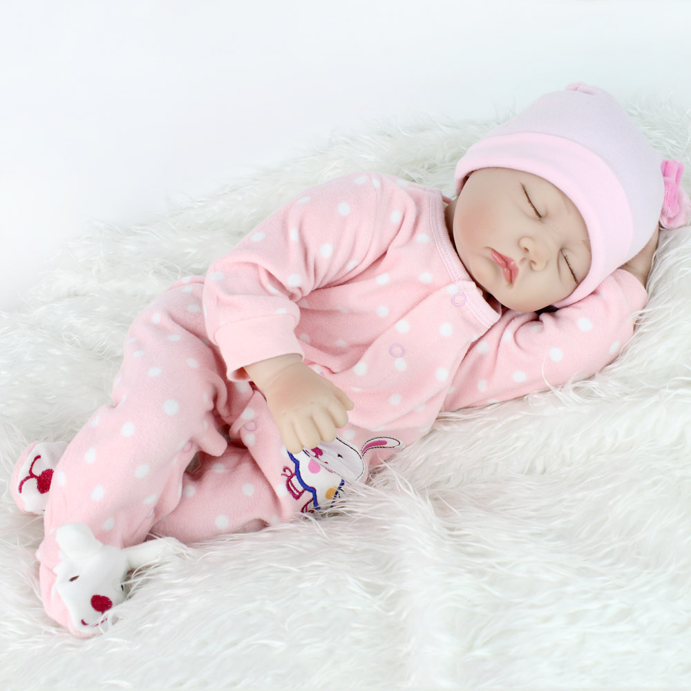 NPKDOLL 22 inches Sleeping Doll Reborn Babies Silicone Lifelike Baby Toys For...