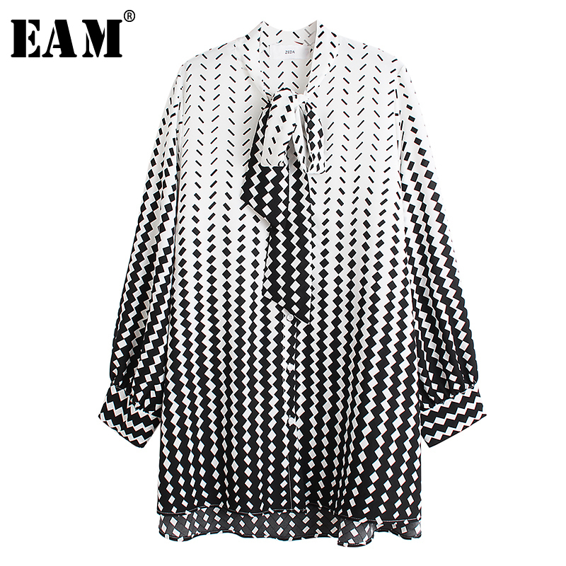 [EAM] Women Pattern Split Big Size Blouse New Bow Collar Long Sleeve Loose Fit Shirt Fashion Tide Spring Autumn 2020 1R203
