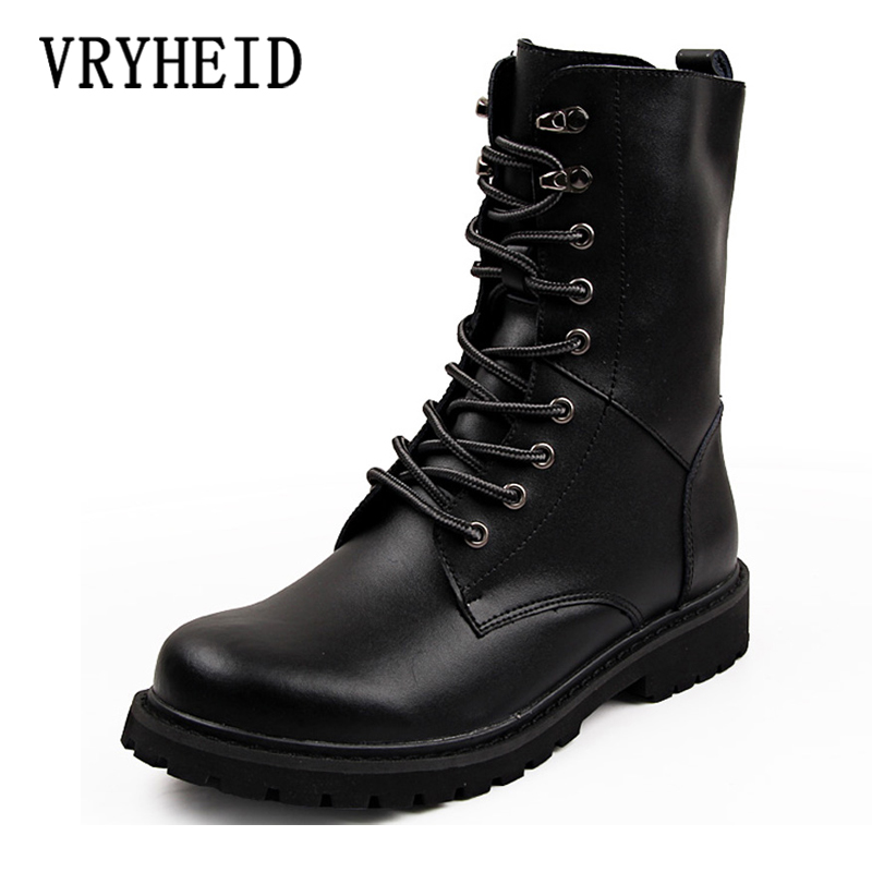 VRYHEID Popular Motocycle Boots Men Winter High-Top Combat Boots Men Leather For Men Casual Luxury Military Boot Army Size 38-48