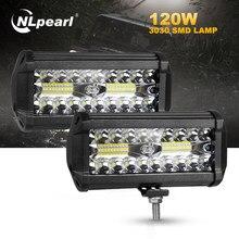 Nlpearl 4/7 pouces barre de lumière Led/lumière de travail 54W 120W tache Led barre lumineuse de travail faisceau pour camion tracteur tout-terrain 4x4 SUV Jeep ATV