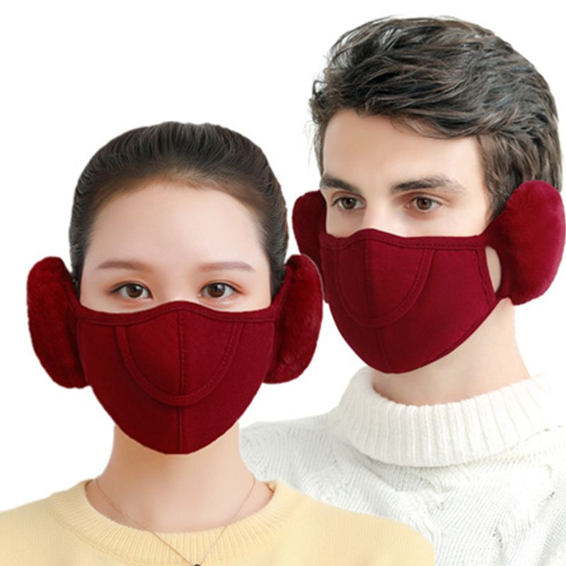 Winter Fashion Warm Adults Mask New Outdoor Riding Electric Car Protection Breathable Two-in-one Cover Earmuffs