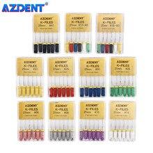 AZDENT – limes dentaires à main en acier inoxydable, pour Canal radiculaire endodontique, outils de dentiste, Instruments de laboratoire dentaire, 25mm, 6 pièces/paquet