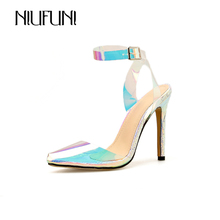 NIUFUNI Women Sandals PVC Transparent Shoes Thin HIgh Heel Sandals Ankle Strap Pointed Toe Shoes Woman ms noki bling women ankle boots thin heel lace up high heel pointed toe supper quality woman new fashion shoes