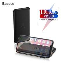 Baseus 10000 мАч Qi Беспроводное зарядное устройство банк питания быстрая зарядка 3,0 PD банк питания для iPhone Xiaomi 10000 Портативный внешний аккумулятор