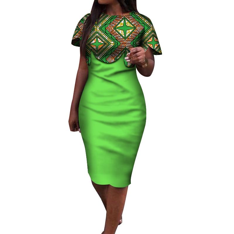 2019 Summer African Dress for Women Africa Bazin Riche Print Spliced Bodycon Elegant Mid-Calf Lady Women Midi Dress WY3932