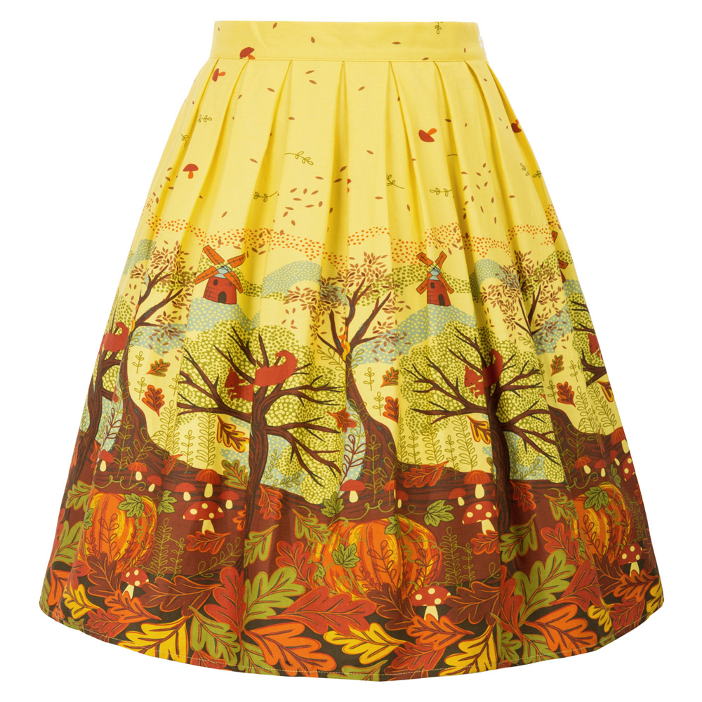 Women Retro Floral Skirt Vintage Frinting Swing Pin Up Full Circle Flare Party Skirt PLUS SIZE Sweet Skater Skirts A Line Gril
