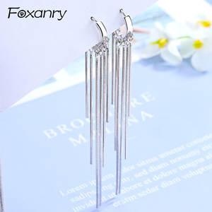 Long-Tassel-Earrings Charms Wedding-Jewelry Gifts 925-Sterling-Silver Women Foxanry