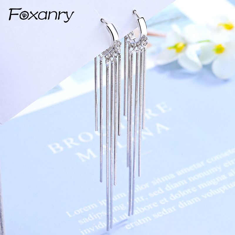 Foxanry New Arrival Long Tassel Earrings For Women Couples 925 Sterling Silver Terndy Charms Earring Wedding Jewelry Gifts