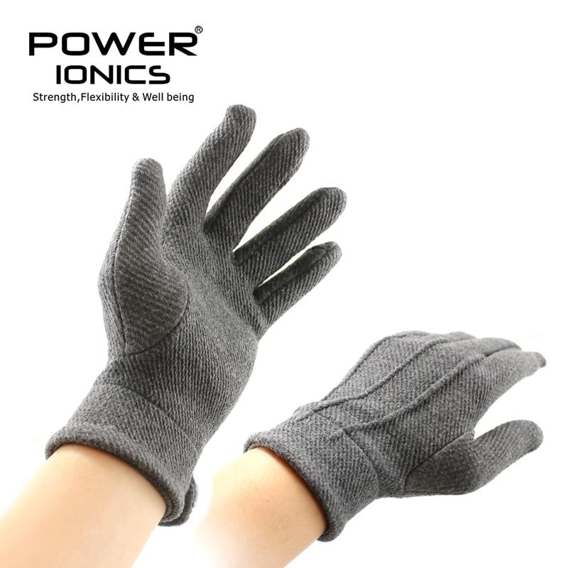 New Power Ionics 1pair Men Women Magnetic Fiber Breathable Arthritis Gray Gloves Improve Blood Circulation