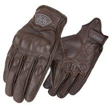Genuine Leather Motorcycle Gloves Retro Motocross Motorbike Full Finger Gloves Vintage Touch Screen Riding Biker Moto Gloves
