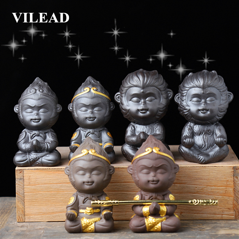 VILEAD 9cm Ceramic Qitian Dasheng Statue Sun Wookong Figurines Monkey King Ornament Tea Car Pet Home Decoration Accessories Gift