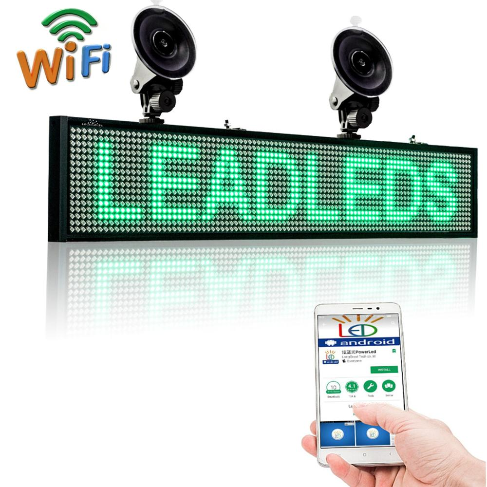 12V Green P5 SMD WIFI Programmable <font><b>Car</b></font> bus <font><b>Led</b></font> Sign Scrolling <font><b>Message</b></font> Display Board with <font><b>Car</b></font> rear window sucker installed image