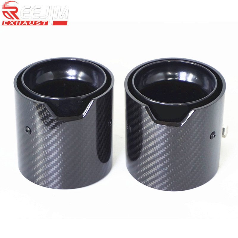1 Piece Glossy Carbon fiber Exhaust Tip Auspuffspitze for <font><b>BMW</b></font> F87 M2 F80 M3 F82 F83 M4 <font><b>Akrapovic</b></font> exhaust tip <font><b>car</b></font> accessories image