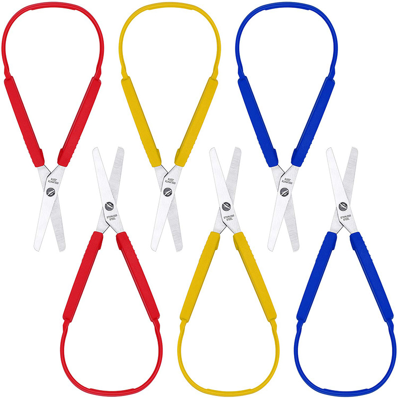 Loop Scissors Colorful Grip Scissors Loop Handle Self-Opening Scissors Adaptive Cutting Scissors 8 Inches (6 Packs)