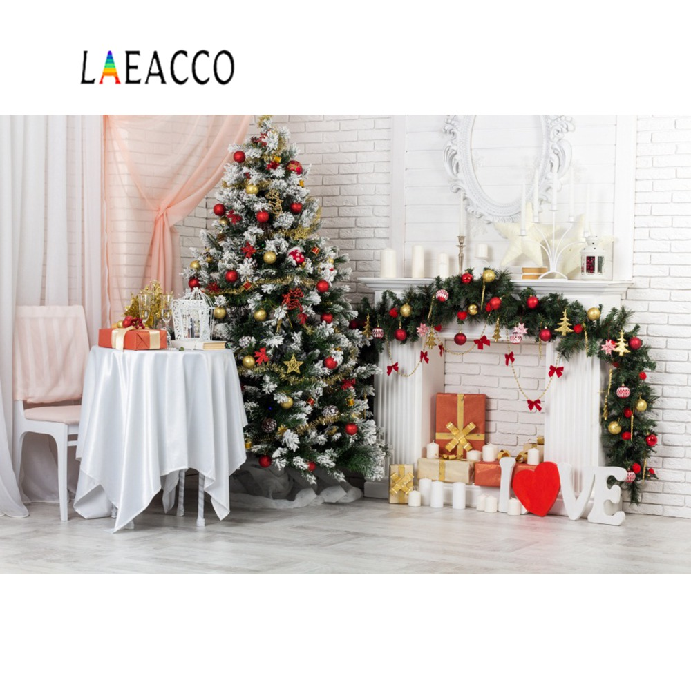 Christmas Tree Gray Fireplace Candle Flower Wreath Curtain Party Baby Room Photo Backgrounds Photography Backdrops Photo Studio in Background from Consumer Electronics