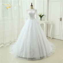 White Ivory Vestido De Noiva See Through Casamento A line Robe De Mariage Long Sleeve Bridal