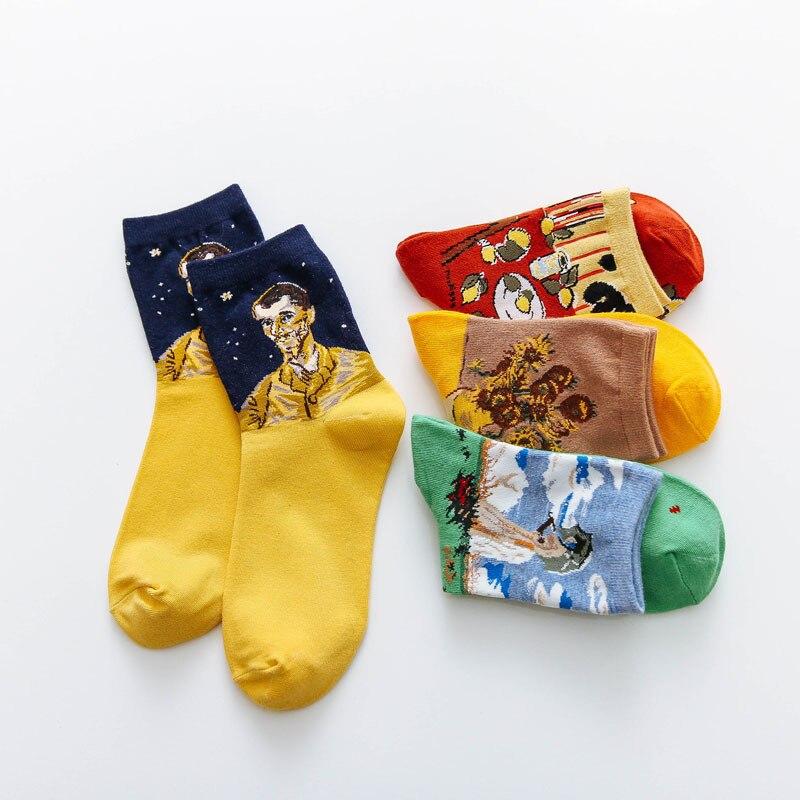2019 Art Van Gogh Sunflower Socks Funny Winter Retro Oil Paint Female Cotton Socks Warm Short Abstract Happy Women kawaii Socks