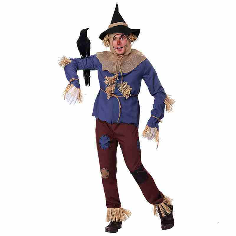 new Party Scarecrow Halloween Costume Adult Wizard of Oz Cosplay Costume High End Stage Performance Clothing for men