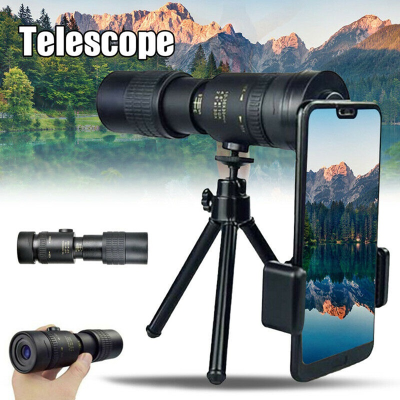 10-300x40 Monocular Telescope Compact Retractable Zoom Waterproof Professional HD Night Version with Tripod Phone clip
