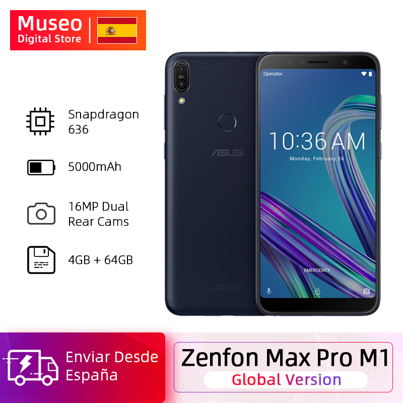 Global Version ASUS ZenFone Max Pro M1 ZB602KL Smartphone 4GB 64GB 6.0 Inch 4G LTE 5000mAh Mobile Phones Snapdragon 636