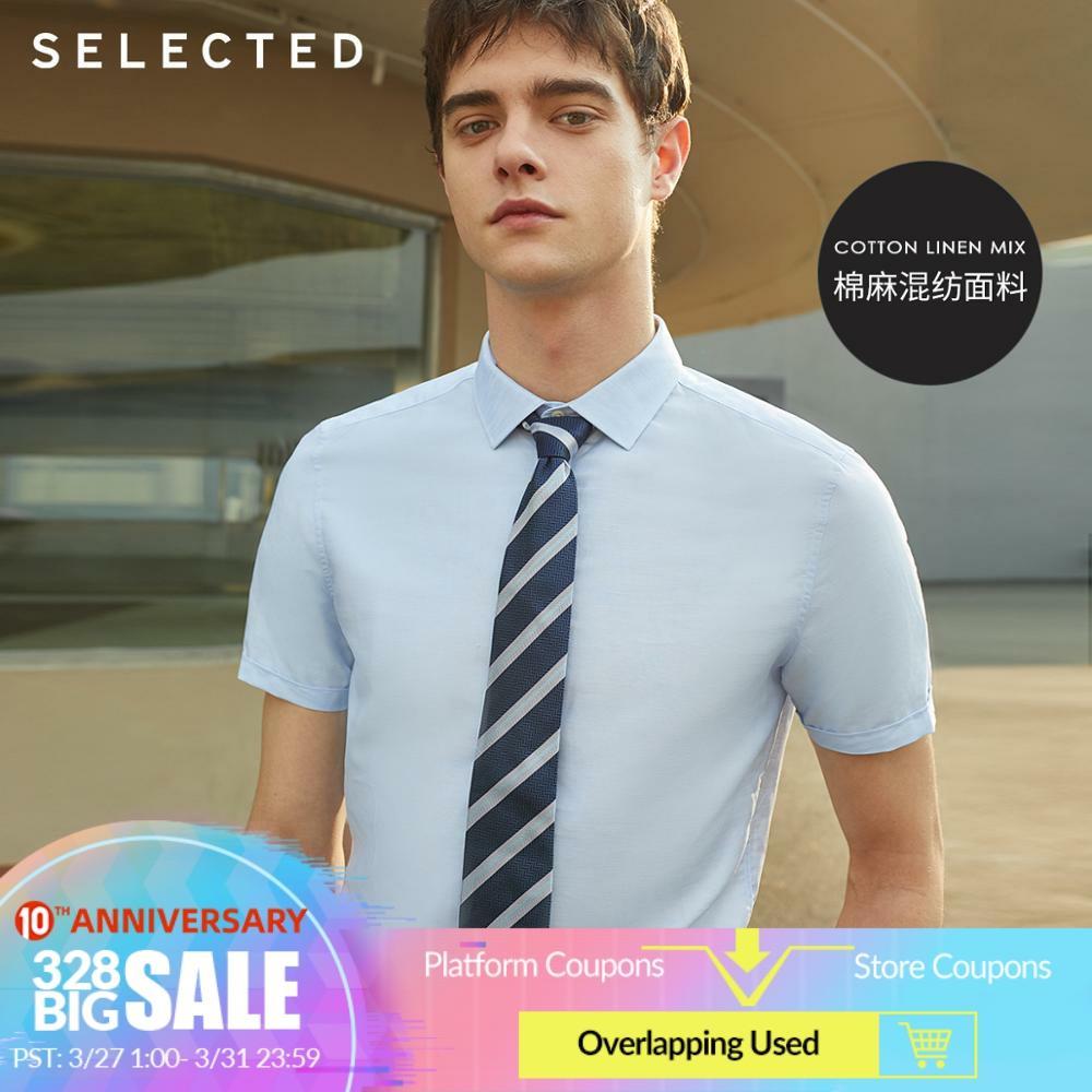 SELECTED Men's Slim Fit Linen Pure ColorTrendy Handsome Slim Business Short-sleeved Shirt T|419204556