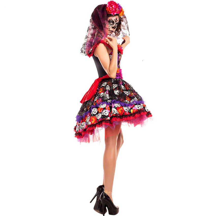 โครงกระดูกที่น่ากลัวเครื่องแต่งกายฮาโลวีนคอสเพลย์เซ็กซี่Skull DevilปลอมตัวWitchชุดแฟนซีเจ้าสาวCarnival Party Dance Night Club