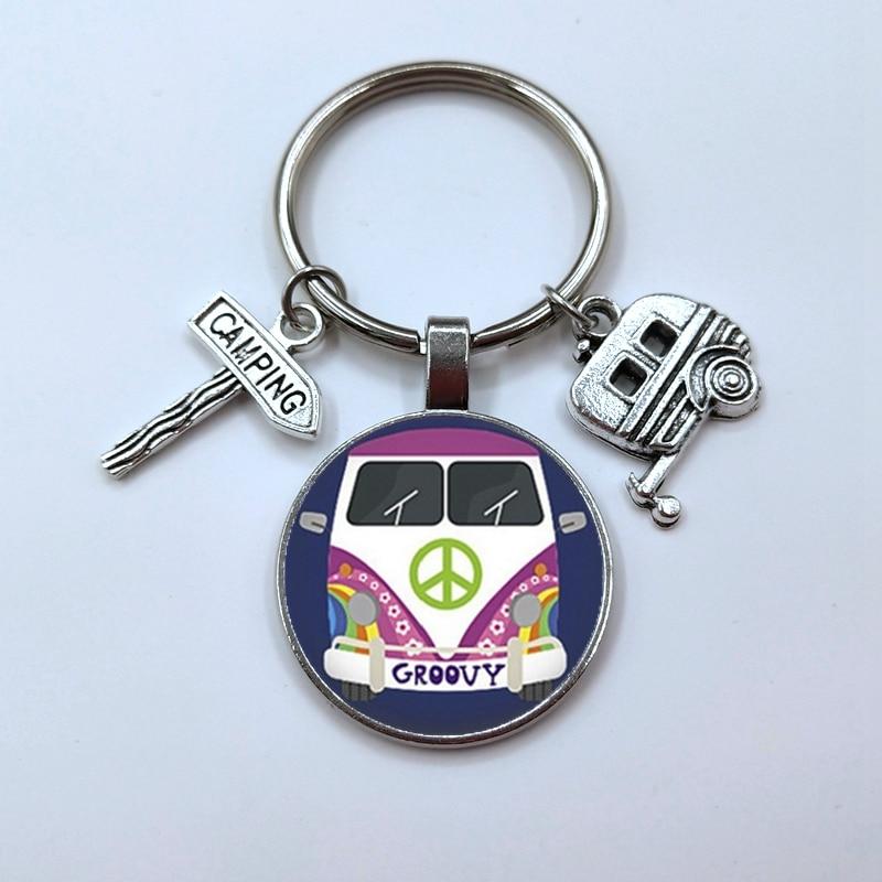 Vintage hippi barış işareti Van otobüs anahtarlık moda erkek kadın çanta çanta araba kolye anahtarlık halka tutucu takı