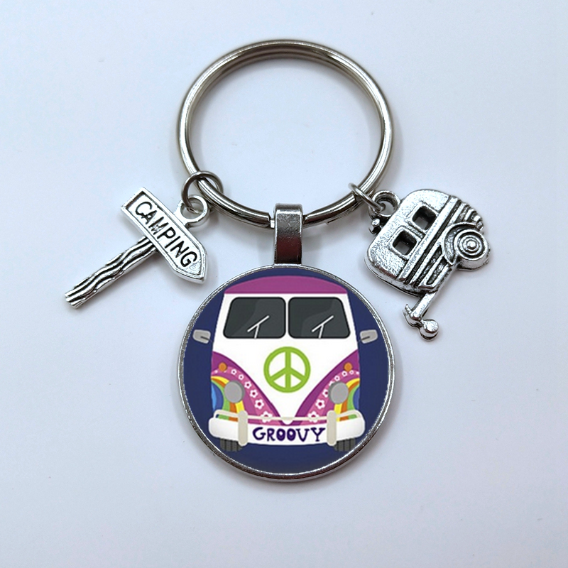 Vintage hippie sinal de paz van ônibus chaveiro moda masculina bolsa do carro pingente chaveiro titular jóias