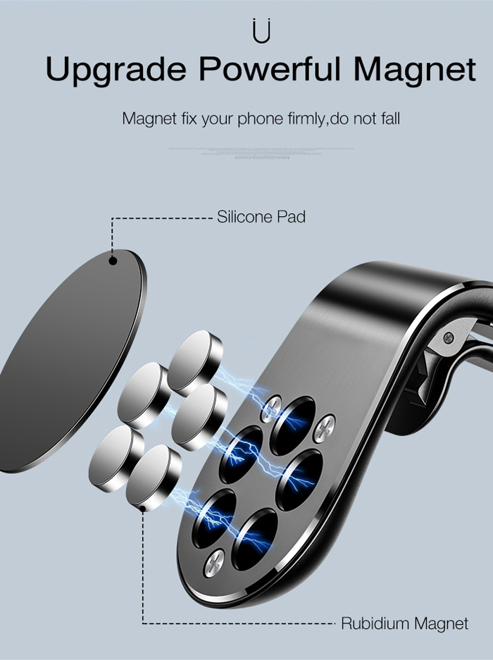 Fivetech Clip Magnetic Car Phone Holder Car Outlet Magnetic Phone Holder Cars Convenient Metal Phone Stand Compact Clip Bracket (2)