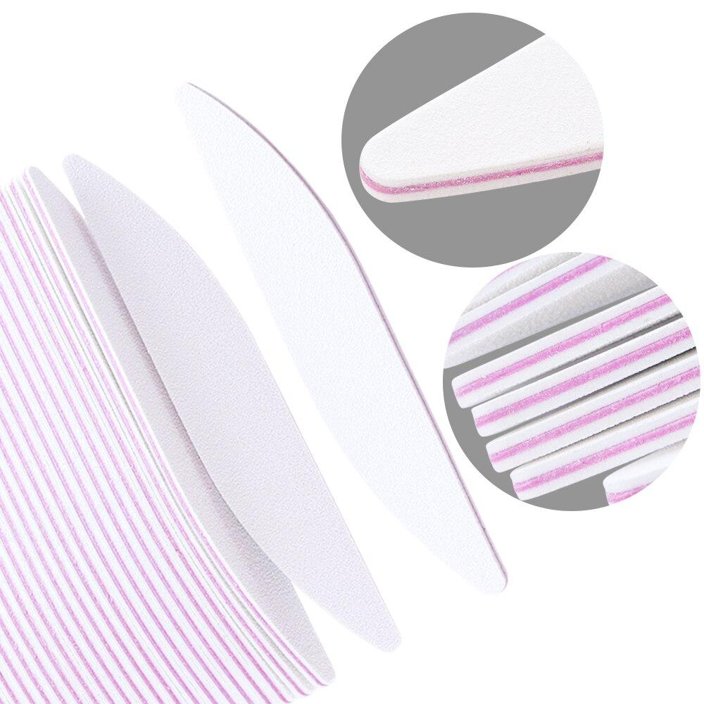 5Pcs Nail Files Polish Sanding Buffer Block White Moon 100/180 Nail Art UV Gel Beauty Buffing Tips Manicure Pedicure Tools LAA25