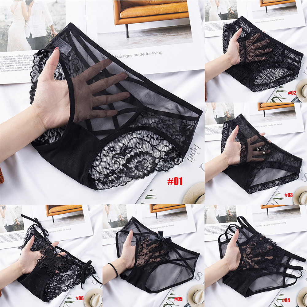 Fashion Sexy Black Lace Hollow Out Women Panties Low waist Thin Mesh Seamless Briefs Cotton Crotch Lingerie