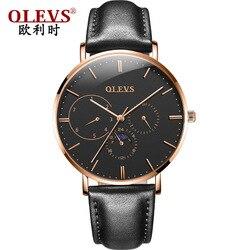 OLEVS męskie zegarki prosty luksusowy wodoodporny zegar biznes skórzany zegarek na rękę zespół oddychający zegarek kwarcowy w stylu dżentelmena