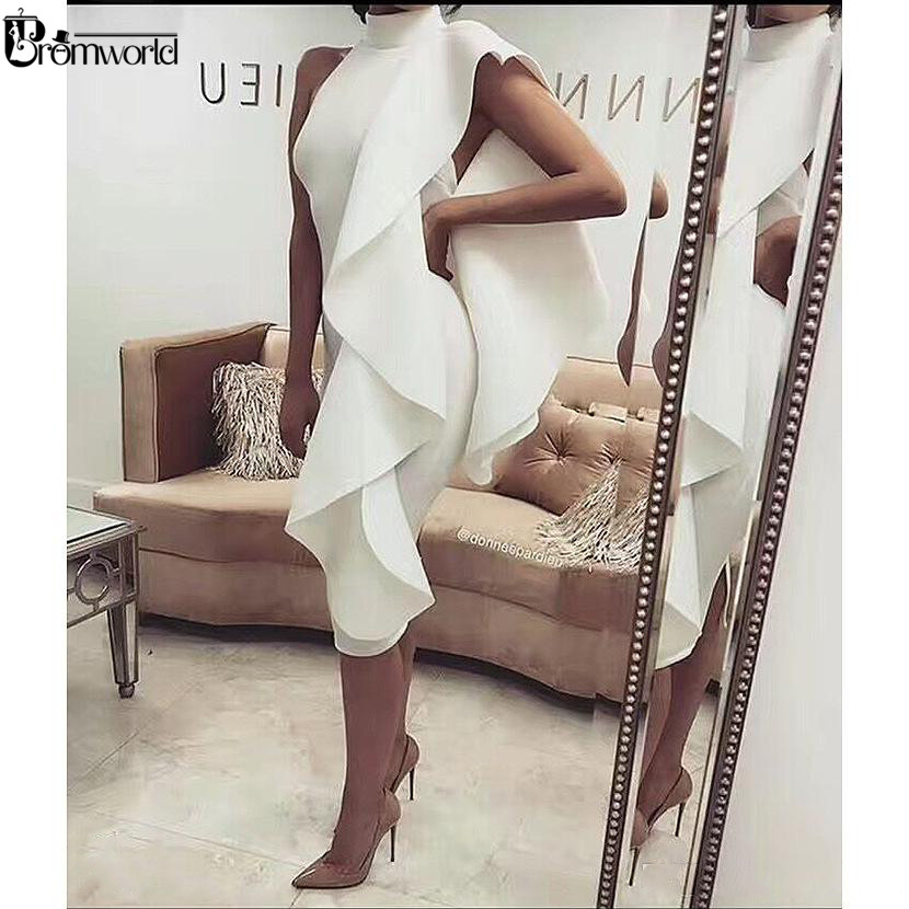 Elegant Cocktail Dresses Ivory 2019 High Neck Knee Length Satin Simple Women Formal Party Prom Gown Robe De Cocktail