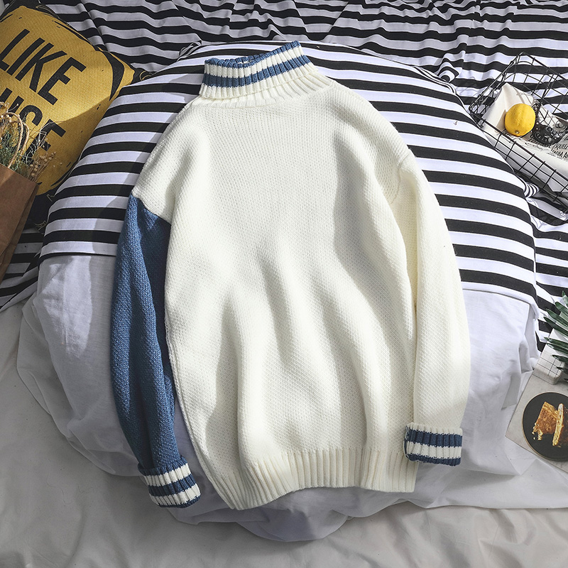 Sweaters Men Turtleneck Loose Patchwork Leisure Daily Soft Warm Knitting Korean Style Simple All-match Pullover Mens Sweater