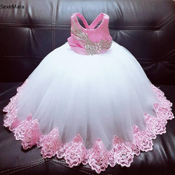 New baby girls birthday party dress pink applique lace crystal infant toddler clothes tutu dress