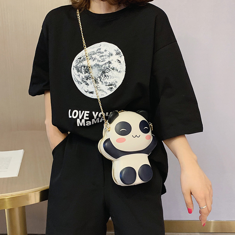 2019 summer new shoulder bag ladies fashion cute bag color chain girl tide diagonal women 39 s bag Panda bags for women 2019 in Shoulder Bags from Luggage amp Bags