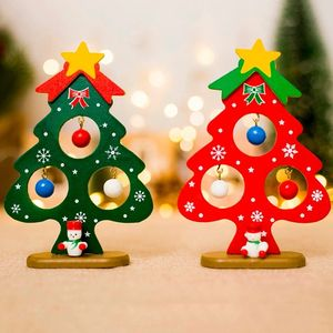 Mini Painted Christmas Tree Small Ornament Christmas Wooden Card Car Decor Dashboard Decor Ornaments New Arrival