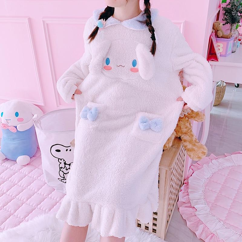Kids Adult Bathrobe Melody Cosplay Cinnamoroll Costume Bath Robe Sleepwear Pattern Plush Robe Women Pajamas Cartoon