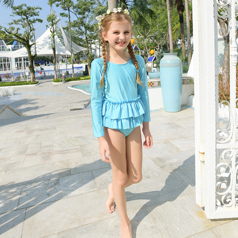 Children New Style Bathing Suit Girls Cute Dress-Big Boy Tour Bathing Suit Solid Color GIRL'S Princess Beach Swimwear