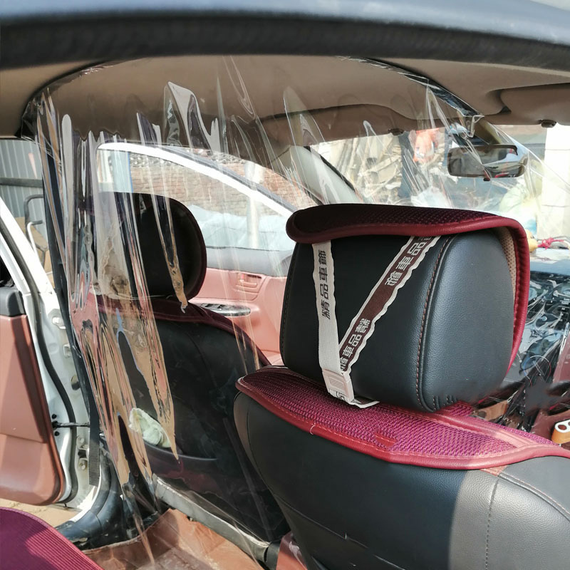 Transparent Car Anti Droplets Proof Isolation Screen PVC Protection Film Curtain For Uber Taxi Driver Passenger Car Interior